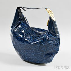 Gucci Blue Patent Leather Hobo Bag