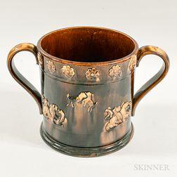 Large Rockingham-glazed Two-handled Ceramic Cup