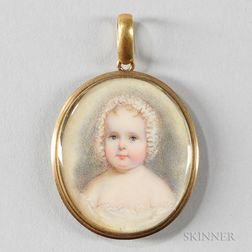 Attributed to John Carlin (New York, 1813-1891)      Portrait Miniature of a Young Girl
