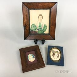Three Framed Watercolor Portrait Miniatures of Women