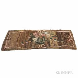 Hooked Hearth Rug with a Vase of Flowers