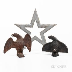 Two Cast Iron Eagle Finials and a Star Finial