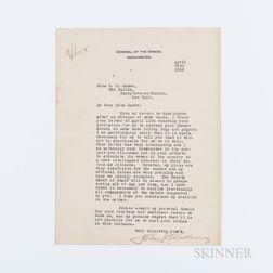 Pershing, John J. (1860-1948) Typed Letter Signed, Washington, DC, 25 April 1922.