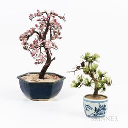 Two Japanese Glass Potted Plants/Bonsai