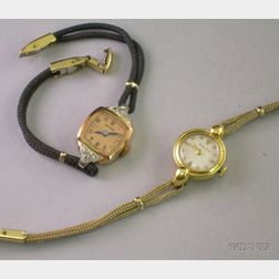 Lady's 14kt Gold Longines and an 18kt Gold Rolex Wristwatch