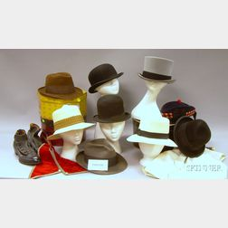 Assorted Man's Vintage Hats and Accessories