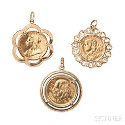 Three Gold Coin-mounted Pendants