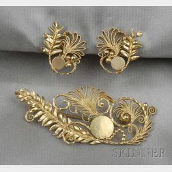 18kt Gold Brooch and Earrings, Georg Jensen