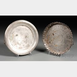 Two Silver Card Salvers