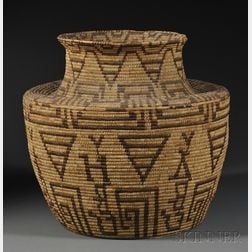 Large Pima Coiled Basketry Olla