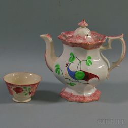 Spatterware Paneled Pitcher and Tea Bowl