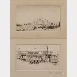 Louis Conrad Rosenberg (American, 1890-1983)      Portfolio of Eight Etchings: Cincinnati Union Terminal