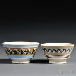 Two Mochaware Earthworm-decorated Bowls
