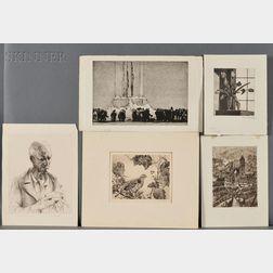 Five Etchings:      Samuel Chamberlain (American, 1895-1975), Early Morning Market, Senlis