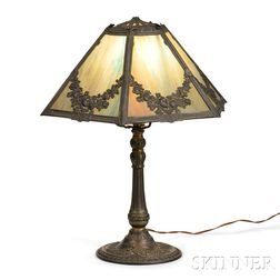 Art Nouveau Slag Glass Table Lamp