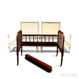 Pair of Neoclassical-style White-painted Beds and a Jenny Lind Spool-turned Child's Bed.    Estimate $40-60
