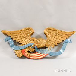 Contemporary Carved and Painted Spreadwing Eagle Plaque