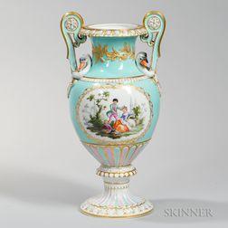 Meissen Porcelain Vase with Swan Handles