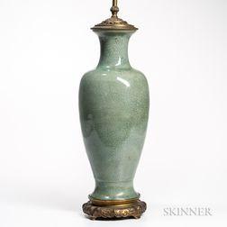 Crackle-glazed Celadon Lamp Vase
