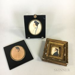 Three Framed Watercolor Profile Portrait Miniatures of Men