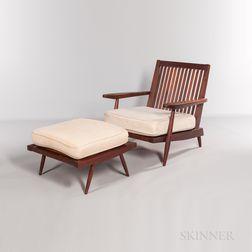 "George Nakashima (1905-1990) ""Cushion"" Armchair and Ottoman"