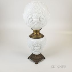 Molded Milk Glass Fluid Lamp