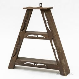 Country Brown-painted Wood Two-tier Hanging Shelf