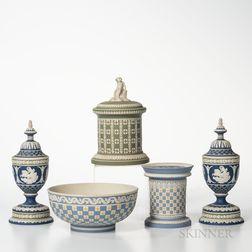 Five Modern Wedgwood Tricolor Diceware Jasper Items