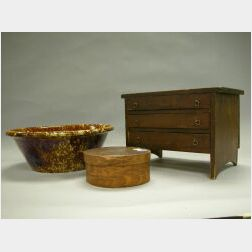 Wooden Three-Drawer Jewelry Chest, Grained Lap Box and a Bennington Mixing Bowl.