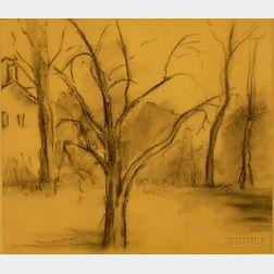 Edwin Booth Grossman (American, 1887-1957)   Winter Landscape.