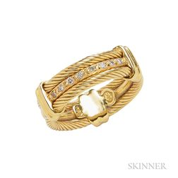 18kt Gold and Diamond Band Ring, Charriol