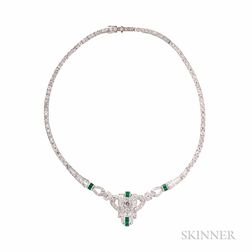 Art Deco Platinum, Diamond, and Emerald Necklace