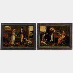 Two Framed Eglomise Lithographs