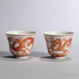 Two Enameled Wine Cups
