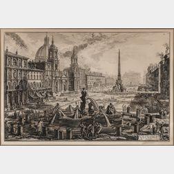 Piranesi, Giovanni Battista (1720-1778) Veduta di Piazza Navona sopra le rovine del Circo Agonale,   [from] Vedute di Roma.