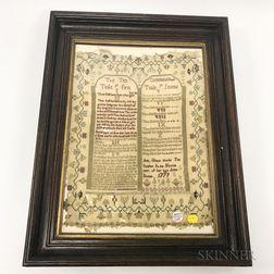 Ten Commandments Needlework Sampler