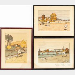 Three 1930s Golfing Prints