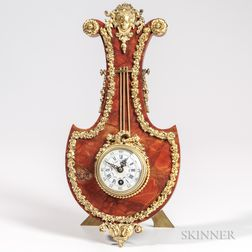 Gilt-bronze-mounted Marble Lyre-form Table Clock