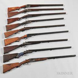 Nine Damaged Double-barrel Shotguns