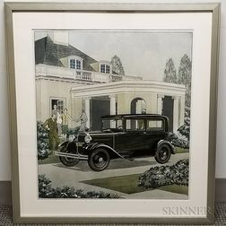Framed Photomechanical Reproduction of an Early Automobile Print
