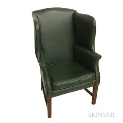 Chippendale-style Leather-upholstered Mahogany Wing Chair