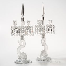 Pair of Assembled Frosted Glass Dolphin Candelabra
