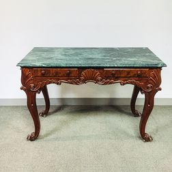 Rococo-style Carved Mahogany Marble-top Console Table