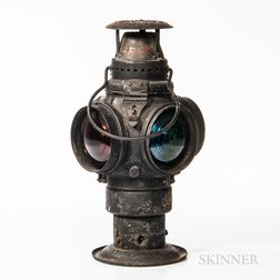 "Iron and Glass ""The Non-Sweating Adlake Lamp"" Railroad Lantern"