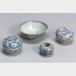 Four Ming Period (1368-1644) Blue and White Porcelain Items