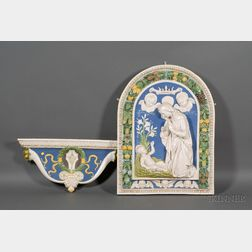 Italian Della Robbia-style Faience Wall Plaque of Madonna and Child