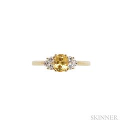 18kt Gold, Yellow Sapphire, and Diamond Ring, Tiffany & Co.