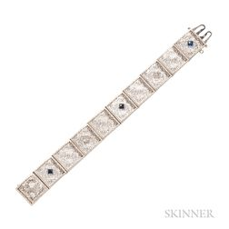 14kt White Gold, Diamond, and Synthetic Sapphire Bracelet