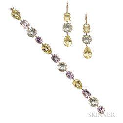 14kt Gold Gem-set Bracelet and Earrings