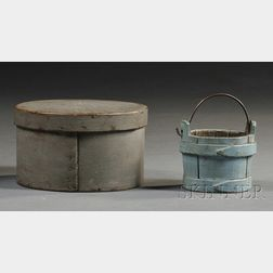 Miniature Blue-painted Bucket and Gray-painted Covered Box